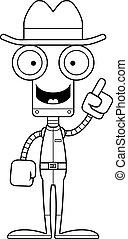 dessin animé, cow-boy, idée, robot