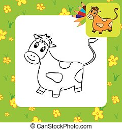 dessin animé, cow., coloration, page