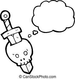 dessin animé, crâne, Épée
