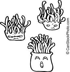 dessin animé, créatures mer