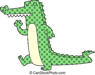 Crocodile dessin anim crocodile vecteur dessin anim illustration natation - Dessin anime crocodile ...