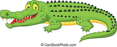 dessin animé, crocodile