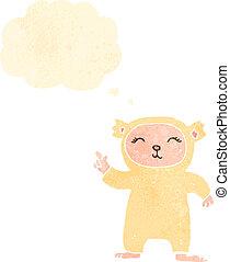 dessin animé, déguisement, ours, retro