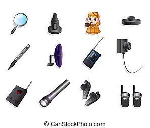 dessin animé, détective, équipement, icône, ensemble