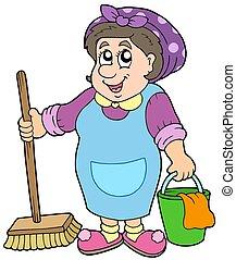 dessin animé, dame nettoyage