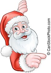 dessin animé, derrière, santa, pointage, signe