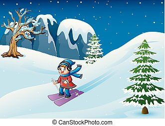 dessin animé, descendant, neige, girl, ski