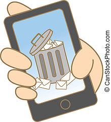 dessin animé, dessin, de, jonque, e-mail, sur, téléphone portable