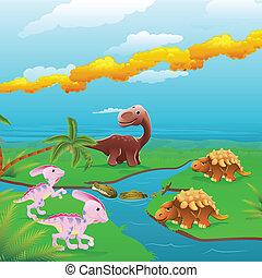 dessin animé, dinosaures, scene.
