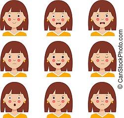 dessin animé, divers, girl., expressions, mignon, chevelure, facial, brun, ensemble