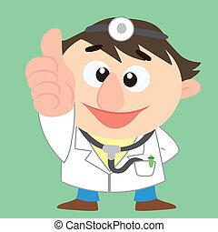 dessin animé, docteur, haut, pouces