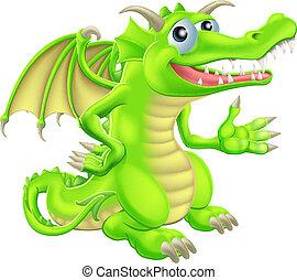 dessin animé, dragon