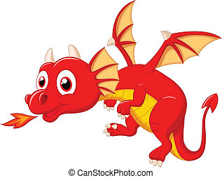 dessin animé, dragon, mignon