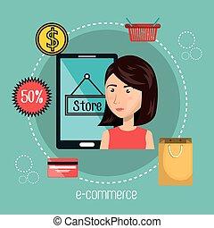 dessin animé, e-commerce, isolé, smartphone, femme, conception