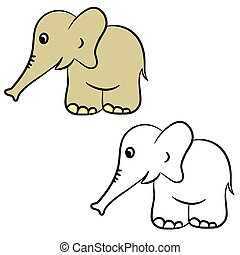 dessin animé, elephant., livre coloration