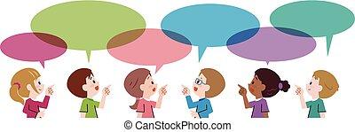 dessin animé, enfants, conversation, à, parole, bulles