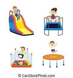dessin animé, -, enfants, parc attractions, cour de récréation, ensemble, isolé