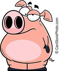 dessin animé, ennuyé, cochon