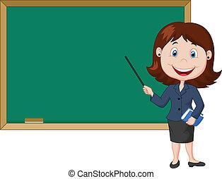 dessin animé, enseignante, debout, nex