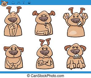 dessin animé, ensemble, chien, illustration, émotions