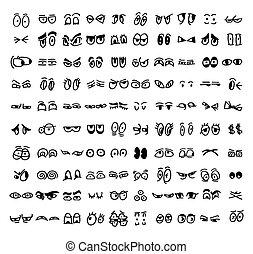 dessin animé, ensemble, de, les, dessiné, yeux