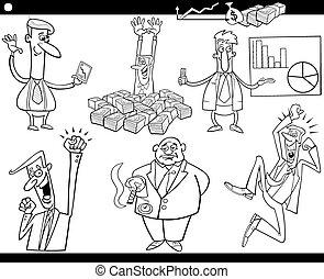 dessin animé, ensemble, idées, concepts affaires