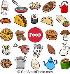 dessin animé, ensemble, illustration, grand, nourriture, objets
