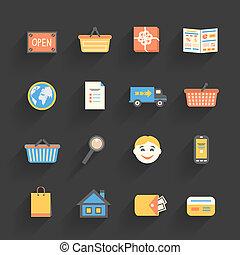 dessin animé, ensemble, magasin ligne, icônes