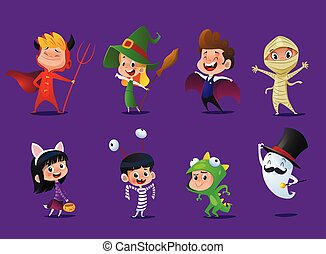 dessin animé, ensemble, mignon, enfants