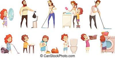 dessin animé, ensemble, nettoyage, famille, icônes