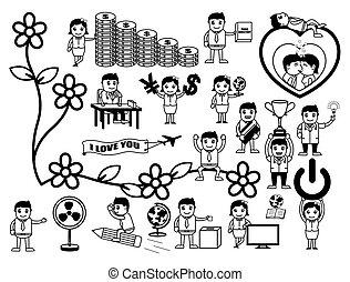 dessin animé, ensemble, retro, concepts