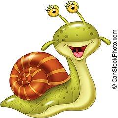 dessin animé, escargot, heureux