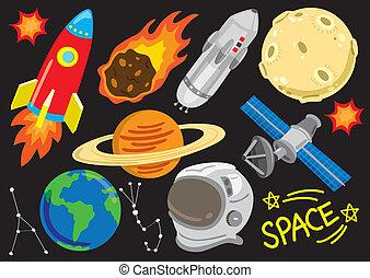 dessin animé, espace