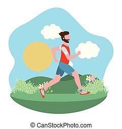 dessin animé, exercice, fitness