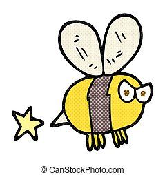 dessin animé, fâché, abeille