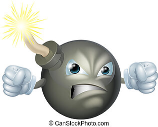 dessin animé, fâché, bombe