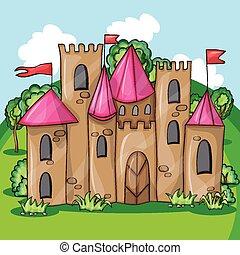dessin animé, fée, château, conte