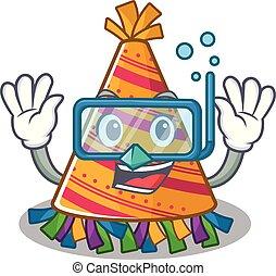 dessin animé, fête, plongée, chapeau