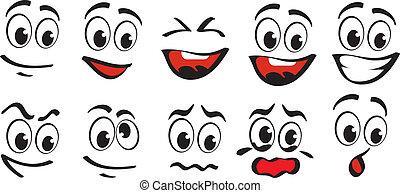 dessin animé, faces