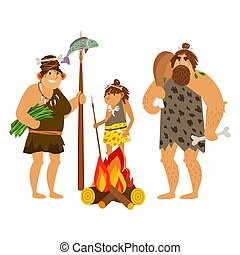 dessin animé, famille, cavemen