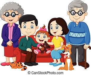 dessin animé, famille heureuse, isolé