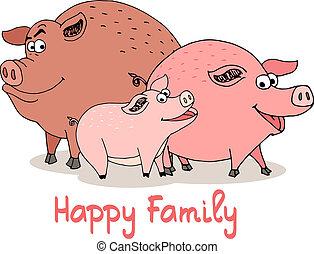 dessin animé, famille, heureux, cochons, amusement