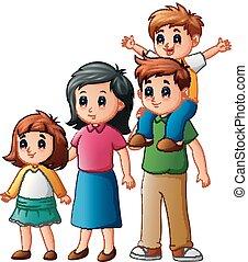 dessin animé, famille, heureux