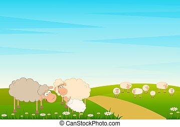 dessin animé, famille, mouton