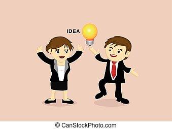 dessin animé, femme affaires, idée, homme affaires