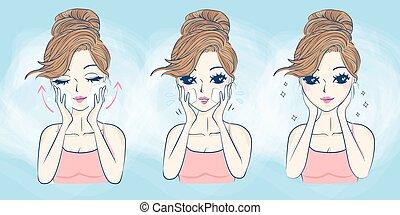 dessin animé, femme, soin peau