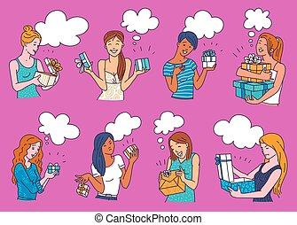 dessin animé, femmes, avoir présente, fâché, réagir, filles, box., cadeau, ensemble, heureux