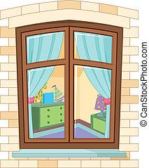 dessin animé, fenêtre