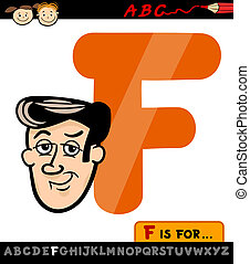 dessin animé, figure, lettre, illustration, f