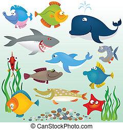 dessin animé, fish, ensemble